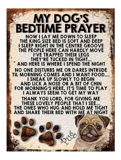 Pug My Dogs Bedtime Prayer Retro Metal Sign / Fridge Magnet