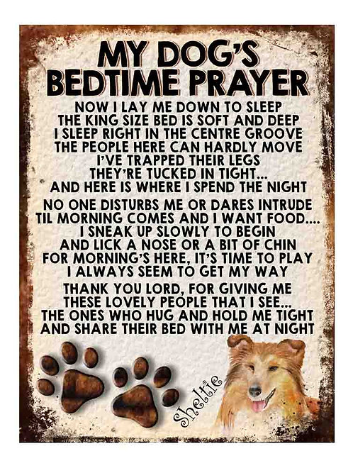 Sheltie My Dogs Bedtime Prayer Retro Metal Sign / Fridge Magnet