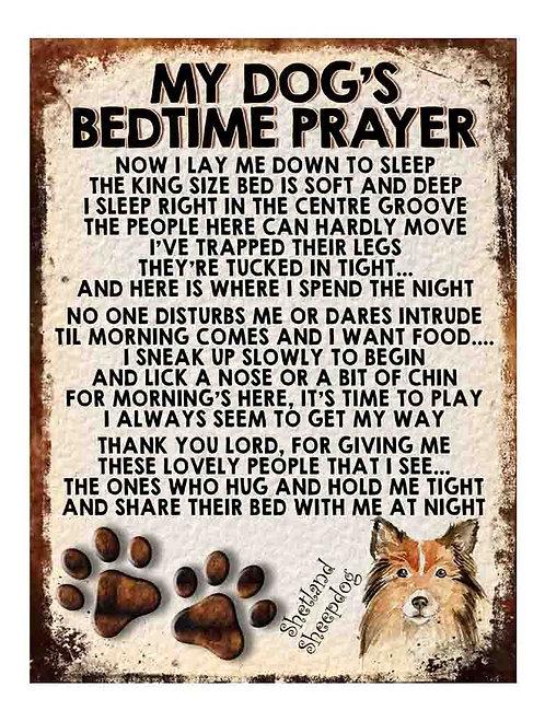 Shetland Sheepdog My Dogs Bedtime Prayer Retro Metal Sign / Fridge Magnet