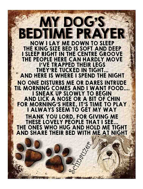 Schnauzer My Dogs Bedtime Prayer Retro Metal Sign / Fridge Magnet