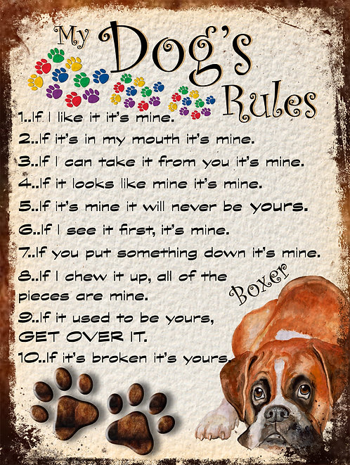Boxer Beautiful Dog My Dogs Rules Retro Metal Sign / Fridge Magnet Shabby Chic