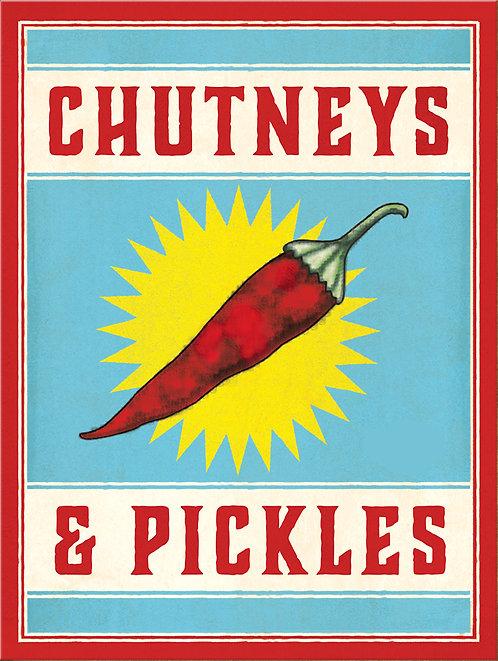Chutney & Pickles, Retro Metal Sign / Fridge Magnet Pub Bar Man Cave