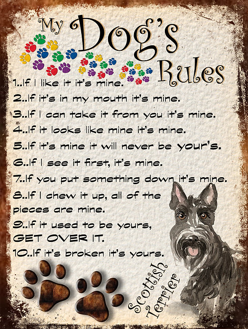 Scottish Terrier My Dogs Rules Retro Metal Sign / Fridge Magnet Shabby Chic
