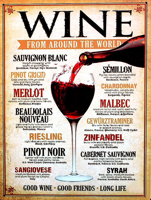Wine from around the world, Retro Metal Sign / Fridge Magnet Home Decor Pub Bar