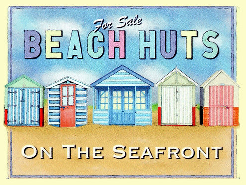 Beach Huts, Retro Metal Sign / Fridge Magnet Pub Bar Man Cave