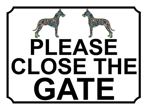 Please Close The Gate Flower Hound Theme Yard Sign Garden