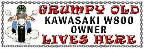 Grumpy Old Kawasaki W800 Owner,  Humorous metal Plaque 267mm x 88mm