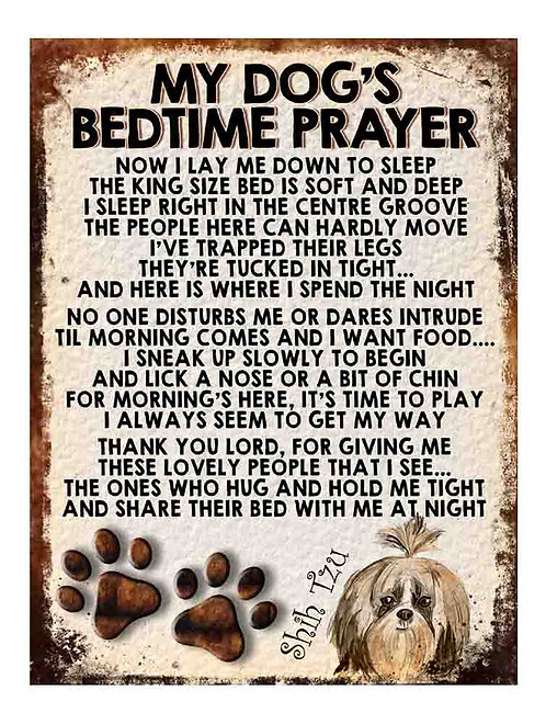 Shih-Tzu Gift My Dogs Bedtime Prayer Retro Metal Sign / Fridge Magnet