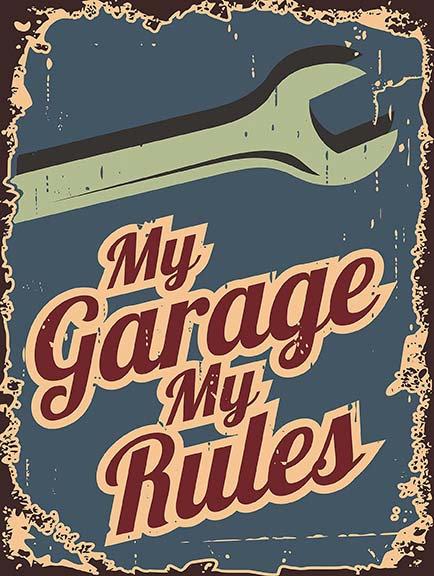 My Garage My Rules, Retro Metal Sign / Fridge Magnet Pub Bar Man Cave Garage