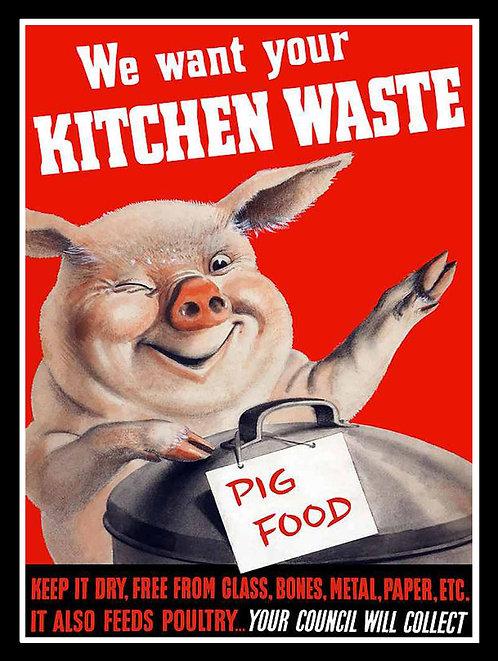 Kitchen Waste, Retro Metal Sign / Fridge Magnet Pub Bar Man Cave