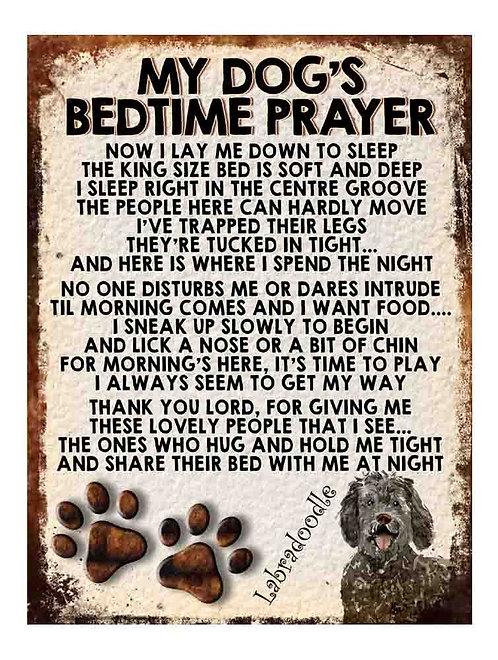 Labradoodle My Dogs Bedtime Prayer Retro Metal Sign / Fridge Magnet