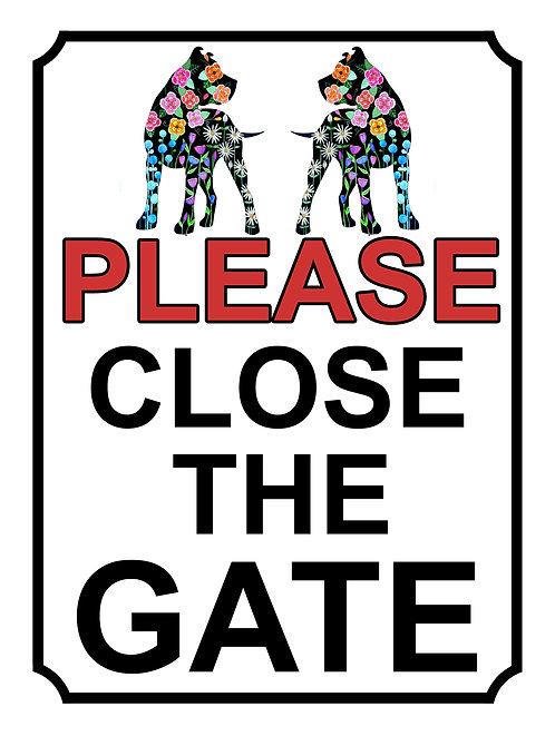 Please Close The Gate Pretty Dogs Theme Yard Sign Garden
