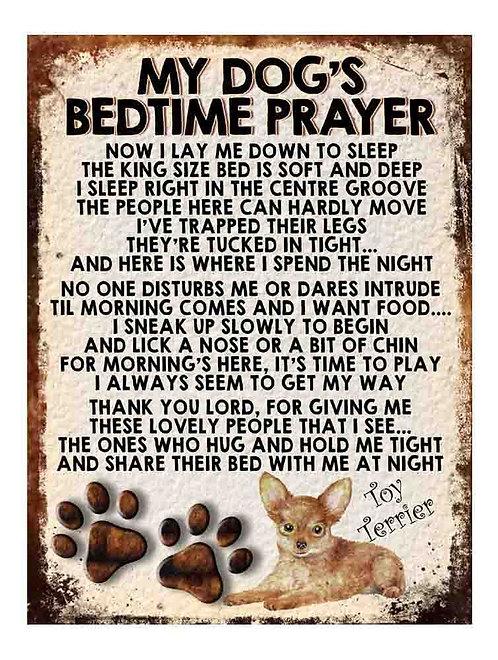 Toy Terrier My Dogs Bedtime Prayer Retro Metal Sign / Fridge Magnet