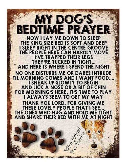 Wire Haired Fox Terrier My Dogs Bedtime Prayer Retro Metal Sign / Fridge Magnet