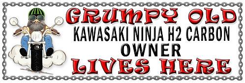 Grumpys Old Kawasaki Ninja H2 Carbon Owner,  Humorous metal Plaque 267mm x 88mm