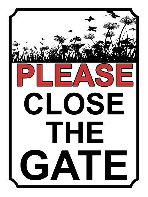 Please Close The Gate Field Theme Yard Sign Garden