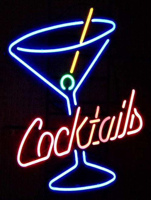 Cocktails Neon Print , Retro Metal Sign / Fridge Magnet Pub Bar Man cave