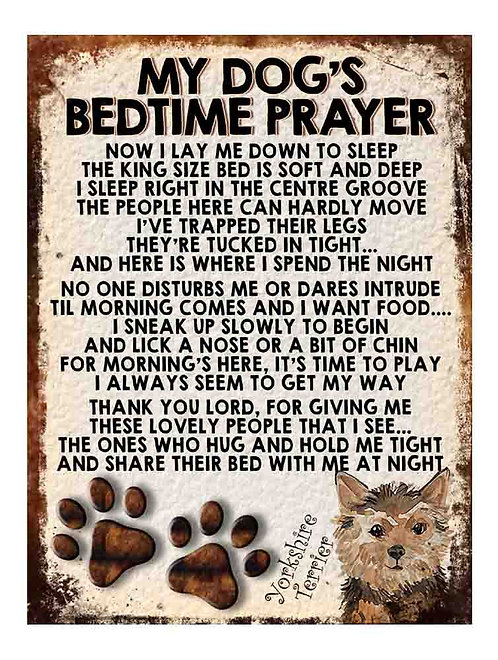 Yorkshire Terrier Gift My Dogs Bedtime Prayer Retro Metal Sign / Fridge Magnet