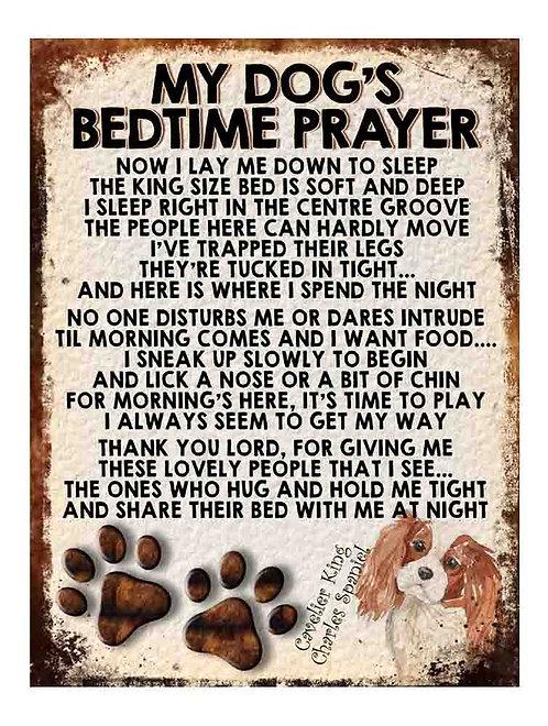 Cavalier King Spaniel My Dogs Bedtime Prayer Retro Metal Sign / Fridge Magnet
