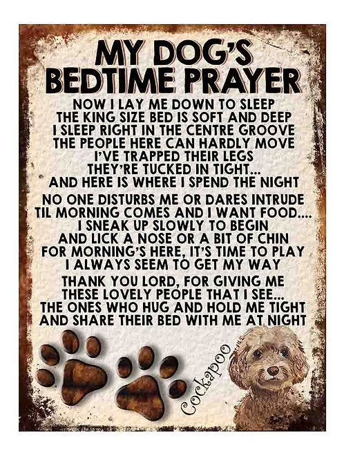 Cockapoo My Dogs Bedtime Prayer Retro Metal Sign / Fridge Magnet
