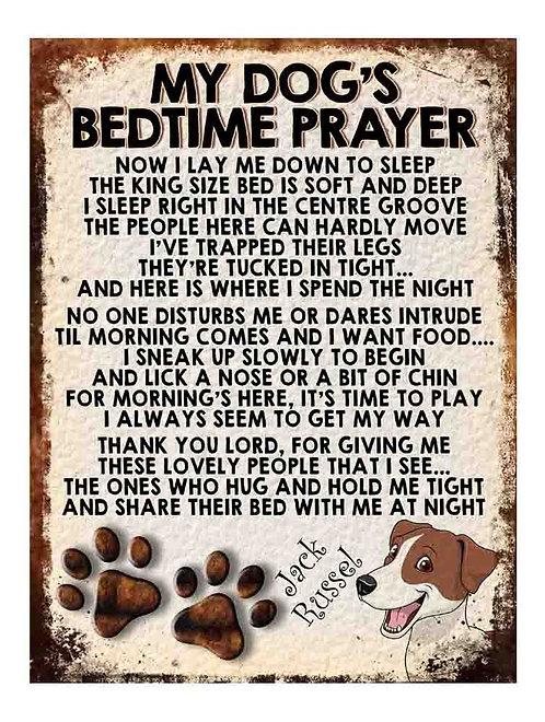 Jack Russel My Dogs Bedtime Prayer Retro Metal Sign / Fridge Magnet