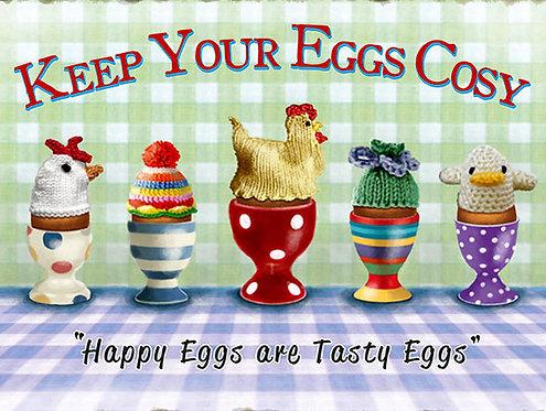 Keep Your Eggs Cosy, Retro Metal Sign / Fridge Magnet Pub Bar Man Cave