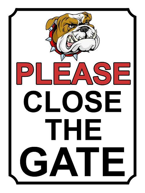 Please Close The Gate Bulldog Theme Yard Sign Garden