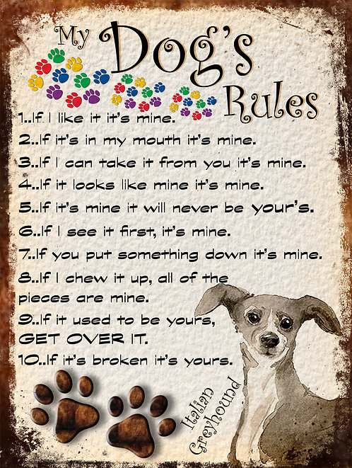 My Dogs Rules Italian Greyhound Retro Metal Sign / Fridge Magnet