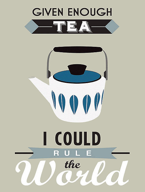 With Enough Tea, Retro Metal Sign / Fridge Magnet Pub Bar Man Cave