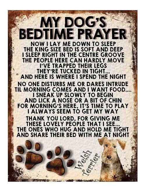 Welsh Terrier My Dogs Bedtime Prayer Retro Metal Sign / Fridge Magnet