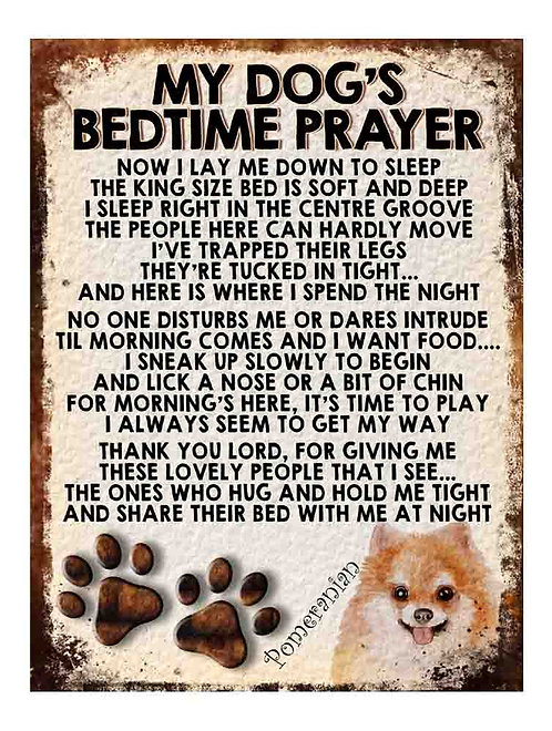 Pomeranian My Dogs Bedtime Prayer Retro Metal Sign / Fridge Magnet