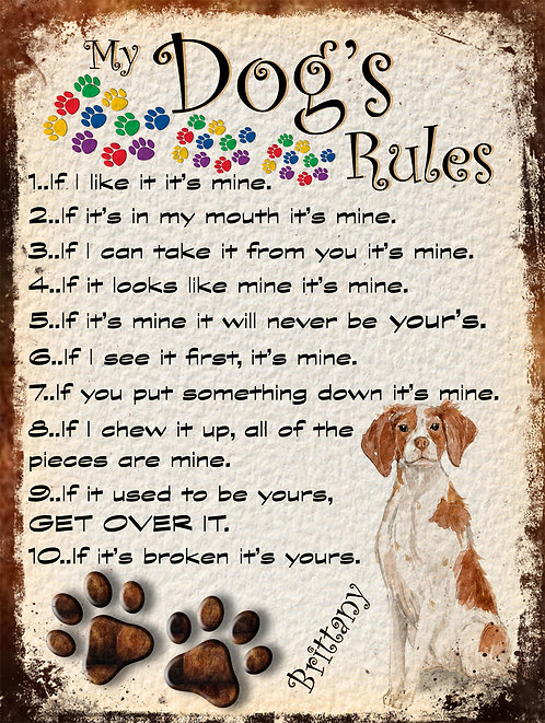 My Dogs Rule Brittany Retro Metal Sign / Fridge Magnet