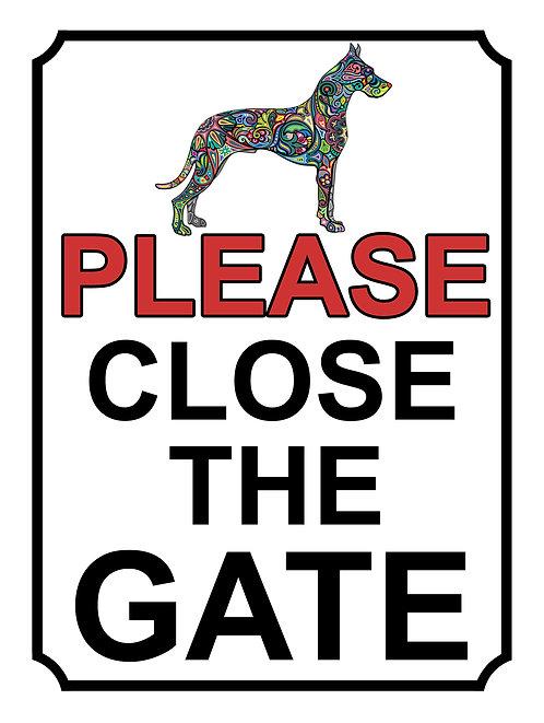 Please Close The Gate Dog Colour Theme Yard Sign Garden