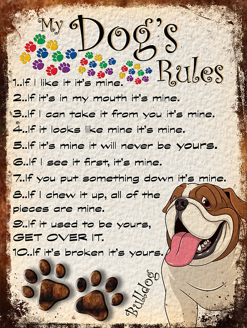 Bulldog Gift My Dogs Rules Retro Metal Sign / Fridge Magnet Shabby Chic