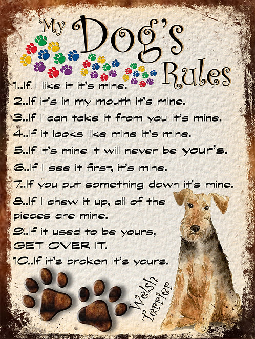 Welsh Terrier My Dogs Rules Retro Metal Sign / Fridge Magnet Shabby Chich