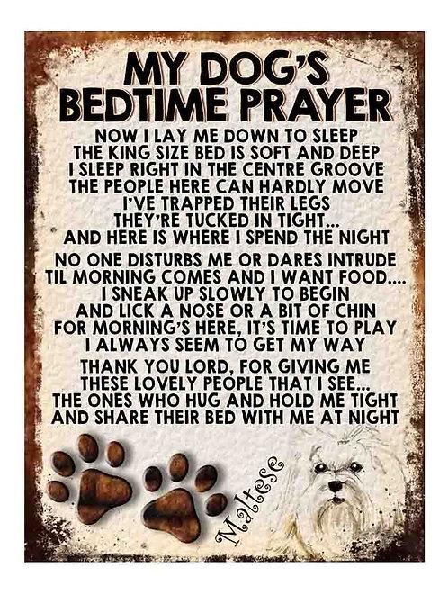 Maltese My Dogs Bedtime Prayer Retro Metal Sign / Fridge Magnet