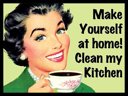 Clean My Kitchen Joke, Retro Metal Sign / Fridge Magnet Pub Bar Man Cave