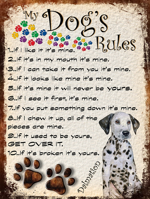 Dalmation Cute Gift My Dogs Rules Retro Metal Sign / Fridge Magnet Shabby Chic