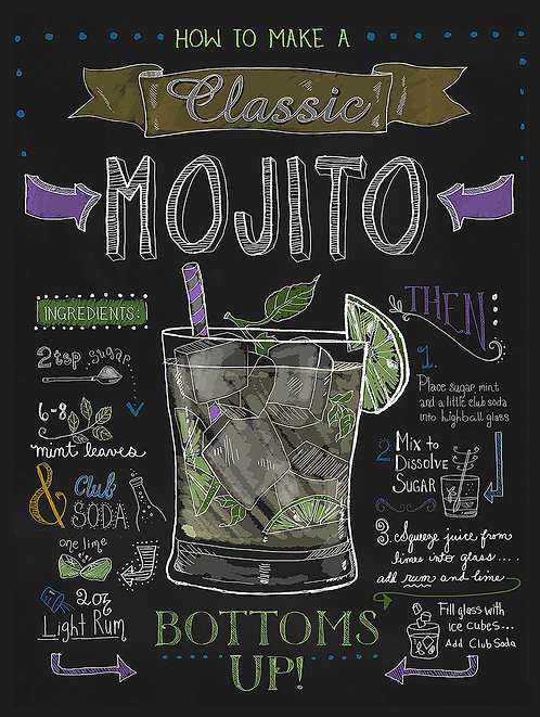 Mojito, Retro Metal Sign / Fridge Magnet Bar Pub Cocktail