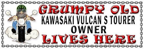 Grumpys Old Kawasaki Vulcan S Tourer Owner,  Humorous metal Plaque 267mm x 88mm