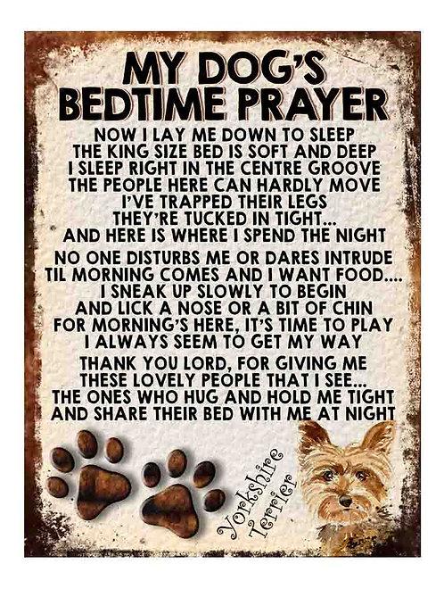 Yorkshire Terrier Gift My Dogs Bedtime Prayer Retro Metal Sign / Fridge Magnet