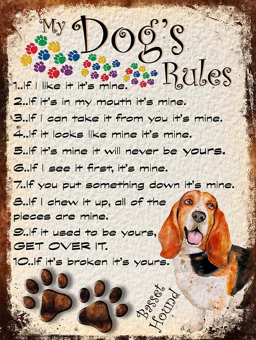 Basset Hound My Dogs Rules Retro Metal Sign / Fridge Magnet Shabby Chic Gift