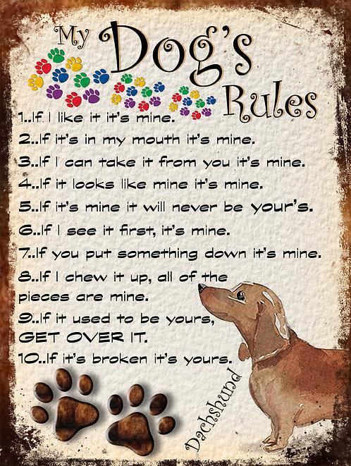Dogs Rules Dachshund Retro Metal Sign / Fridge Magnet