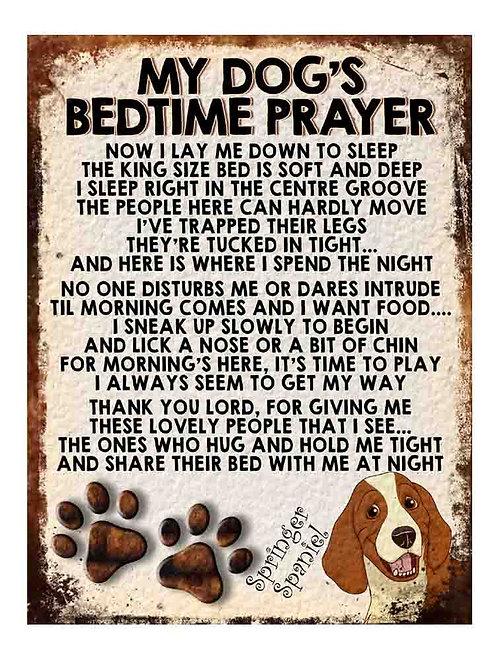 Springer Spaniel My Dogs Bedtime Prayer Retro Metal Sign / Fridge Magnet