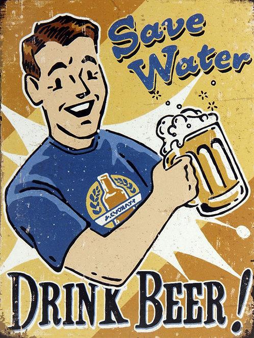 Drink Beer Save Water, Retro Metal Sign / Fridge Magnet Bar Man Cave