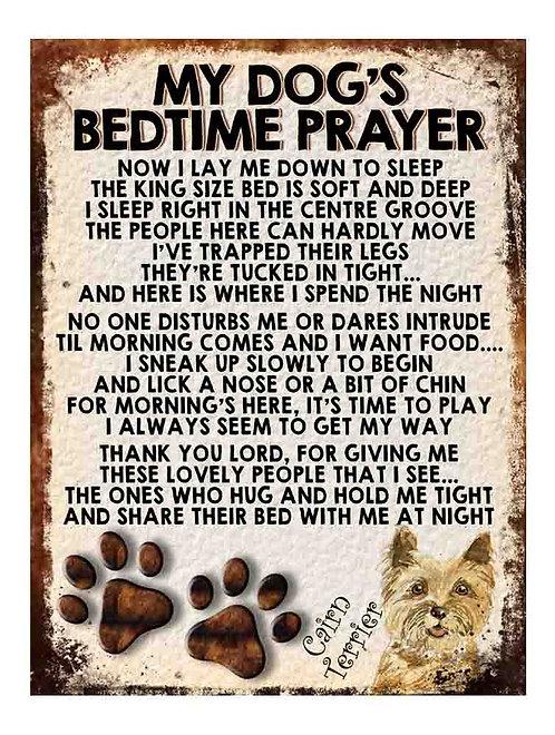 Cairn Terrier Gift My Dogs Bedtime Prayer Retro Metal Sign / Fridge Magnet