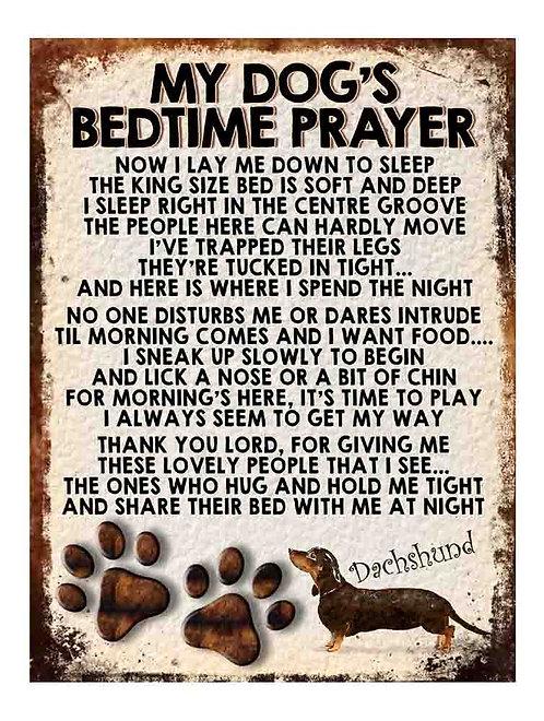 Dachshund Gift My Dogs Bedtime Prayer Retro Metal Sign / Fridge Magnet
