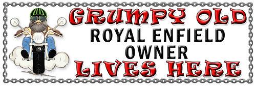 Grumpy Old Royal Enfield Owner, Humorous metal Plaque 267mm x 88mm