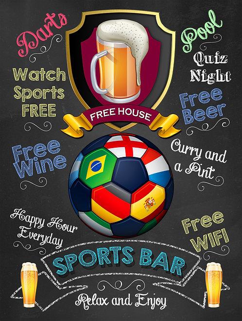 Sports Bar Football, Retro Metal Sign / Fridge Magnet Pub Bar Man Cave