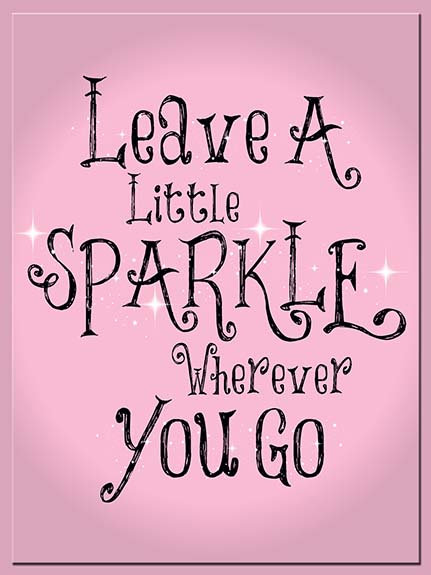 Leave A Little Sparkle, Retro Metal Sign / Fridge Magnet